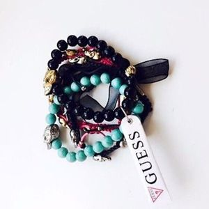 Guess Multicolor Beaded and Woven Skull Bracelet S
